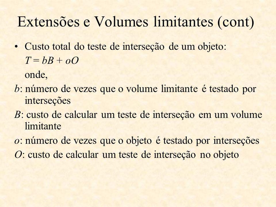 Custo total do teste de interseção de um objeto: T = bB + oO onde, b: número de vezes que o volume limitante é testado por interseções B: custo de calcular um teste de interseção em um volume limitante o: número de vezes que o objeto é testado por interseções O: custo de calcular um teste de interseção no objeto Extensões e Volumes limitantes (cont)