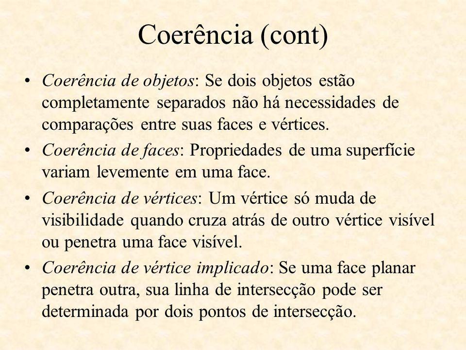Coerência de objetos: Se dois objetos estão completamente separados não há necessidades de comparações entre suas faces e vértices. Coerência de faces