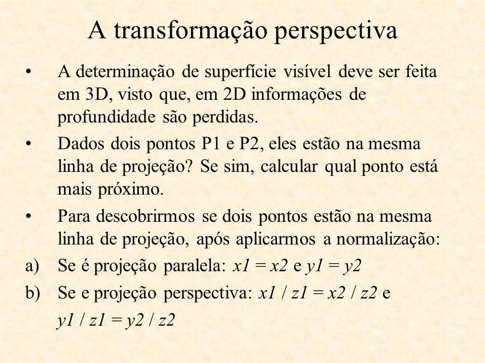 A transformação perspectiva A determinação de superfície visível deve ser feita em 3D, visto que, em 2D informações de profundidade são perdidas. Dado