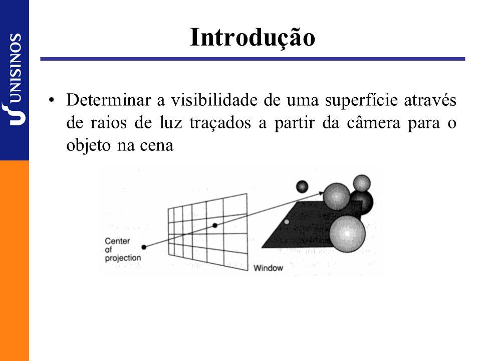 Algoritmo Simplificado selecionar o ponto de projeção e a janela na viewport; para (cada scanline) { para (cada pixel na scanline) { determinar o raio a partir do centro de projeção até o pixel; para (cada objeto na cena) { se (o objeto é atingindo e é o mais próximo até o momento) salvar a intersecção e o nome do objeto; } alterar a cor do pixel para a do objeto atingido mais próximo; }