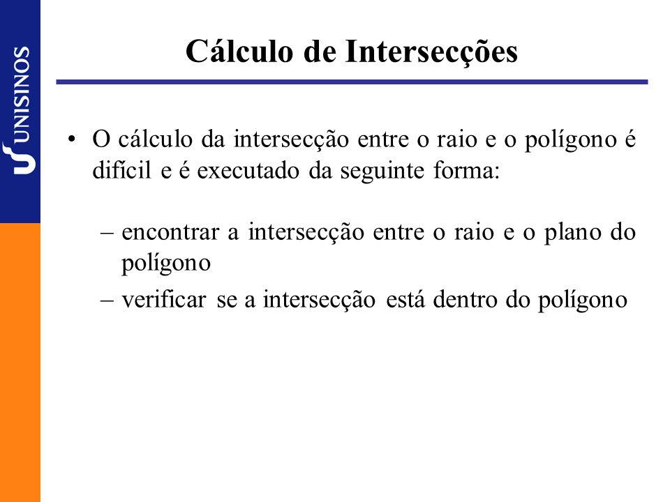 Cálculo de Intersecções O cálculo da intersecção entre o raio e o polígono é difícil e é executado da seguinte forma: –encontrar a intersecção entre o raio e o plano do polígono –verificar se a intersecção está dentro do polígono
