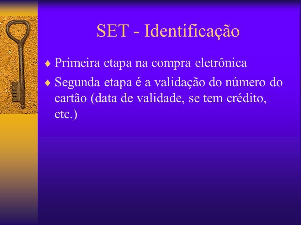 SET - Identificação Primeira etapa na compra eletrônica Segunda etapa é a validação do número do cartão (data de validade, se tem crédito, etc.)