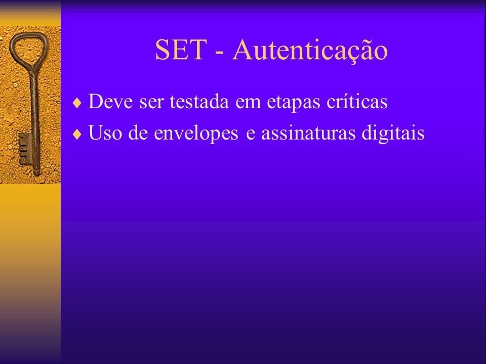 SET - Autenticação Deve ser testada em etapas críticas Uso de envelopes e assinaturas digitais