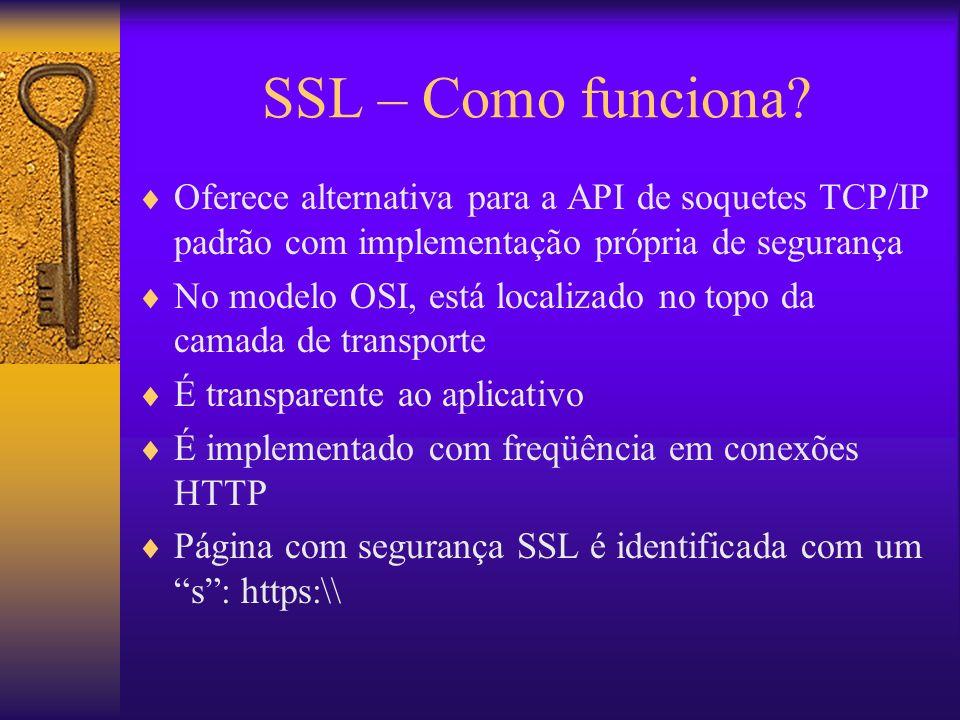 SSL – Como funciona? Oferece alternativa para a API de soquetes TCP/IP padrão com implementação própria de segurança No modelo OSI, está localizado no