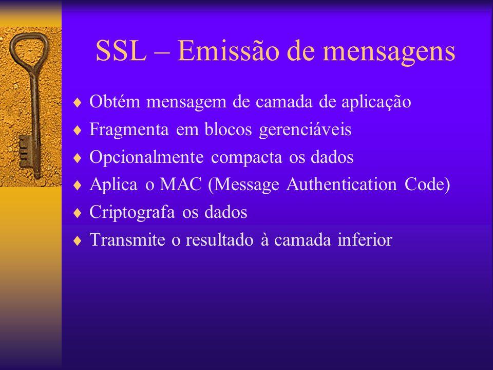 SSL – Emissão de mensagens Obtém mensagem de camada de aplicação Fragmenta em blocos gerenciáveis Opcionalmente compacta os dados Aplica o MAC (Messag