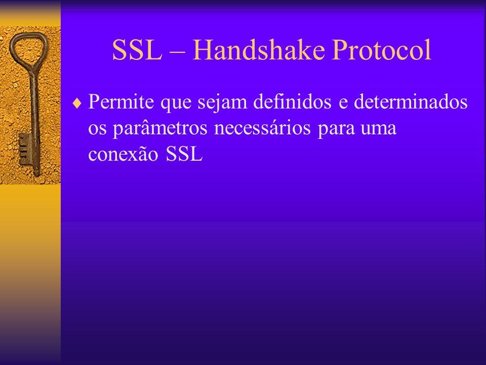 SSL – Handshake Protocol Permite que sejam definidos e determinados os parâmetros necessários para uma conexão SSL