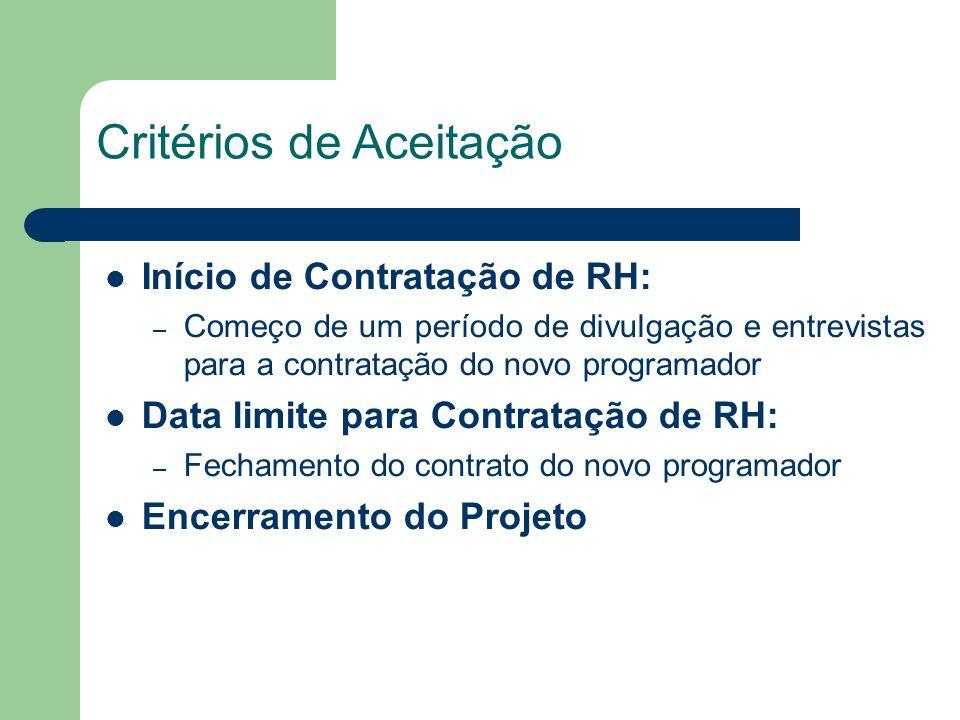 Início de Contratação de RH: – Começo de um período de divulgação e entrevistas para a contratação do novo programador Data limite para Contratação de RH: – Fechamento do contrato do novo programador Encerramento do Projeto Critérios de Aceitação