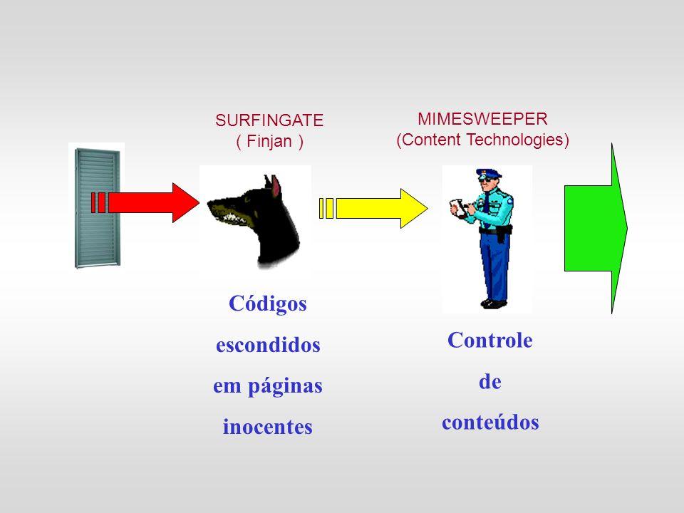 Códigos escondidos em páginas inocentes Controle de conteúdos SURFINGATE ( Finjan ) MIMESWEEPER (Content Technologies)