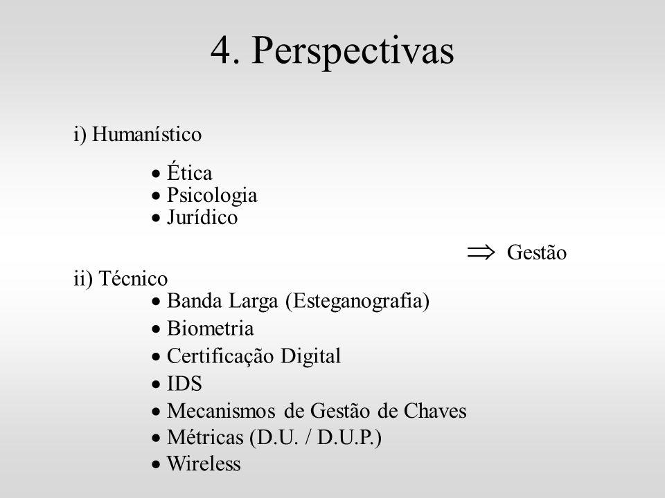 4. Perspectivas i) Humanístico Ética Psicologia Jurídico ii) Técnico Banda Larga (Esteganografia) Biometria Certificação Digital Gestão IDS Mecanismos