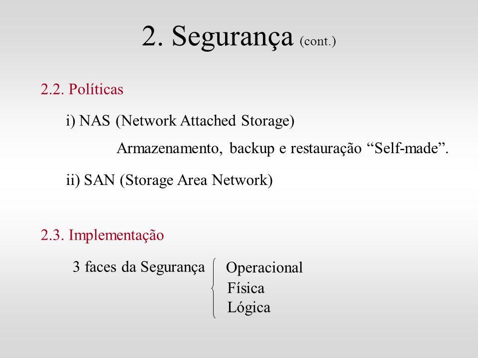 2. Segurança (cont.) 2.2. Políticas i) NAS (Network Attached Storage) Armazenamento, backup e restauração Self-made. ii) SAN (Storage Area Network) 2.