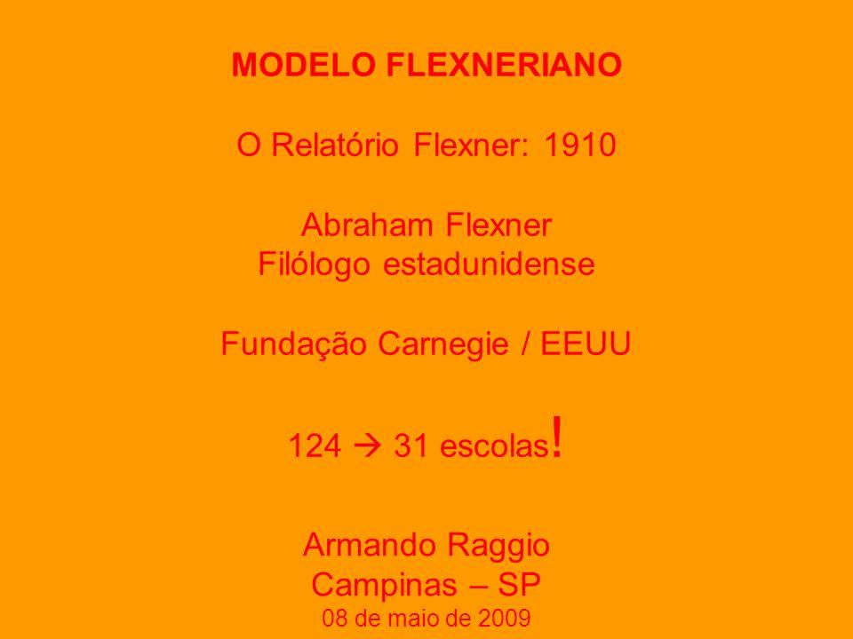 MODELO FLEXNERIANO O Relatório Flexner: 1910 Abraham Flexner Filólogo estadunidense Fundação Carnegie / EEUU 124 31 escolas .
