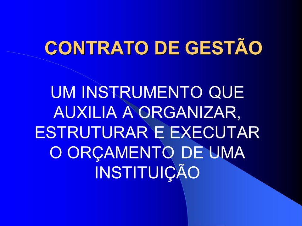 CONTRATO DE GESTÃO UM INSTRUMENTO QUE AUXILIA A ORGANIZAR, ESTRUTURAR E EXECUTAR O ORÇAMENTO DE UMA INSTITUIÇÃO