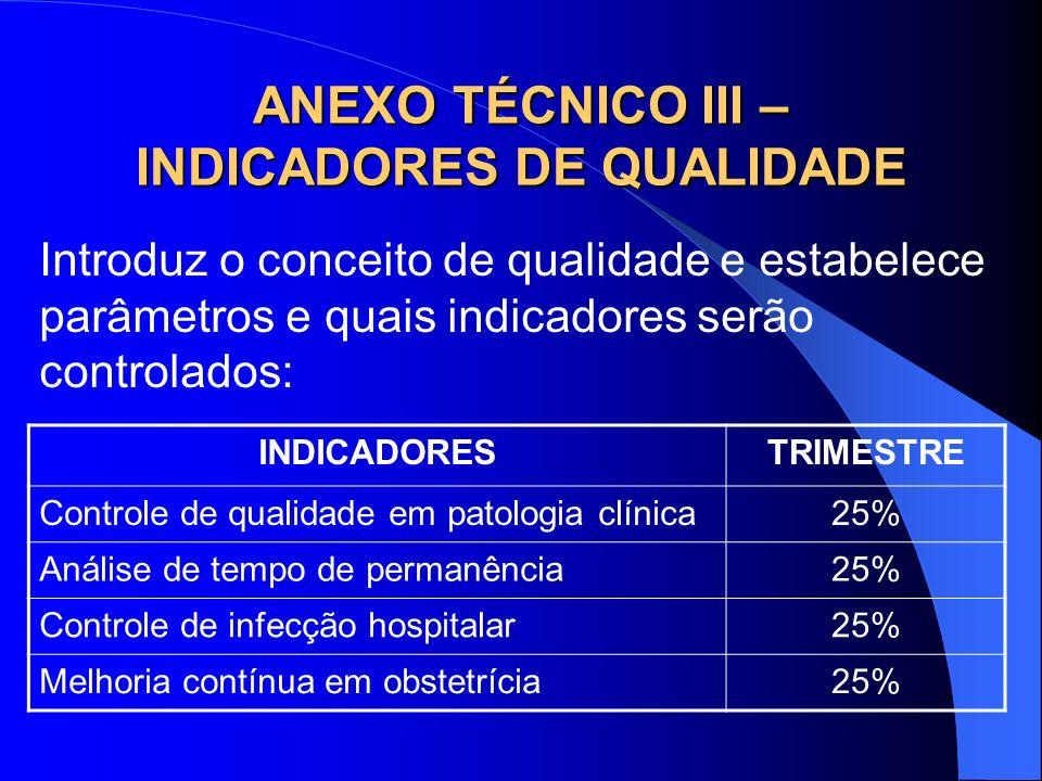 ANEXO TÉCNICO III – INDICADORES DE QUALIDADE Introduz o conceito de qualidade e estabelece parâmetros e quais indicadores serão controlados: INDICADOR