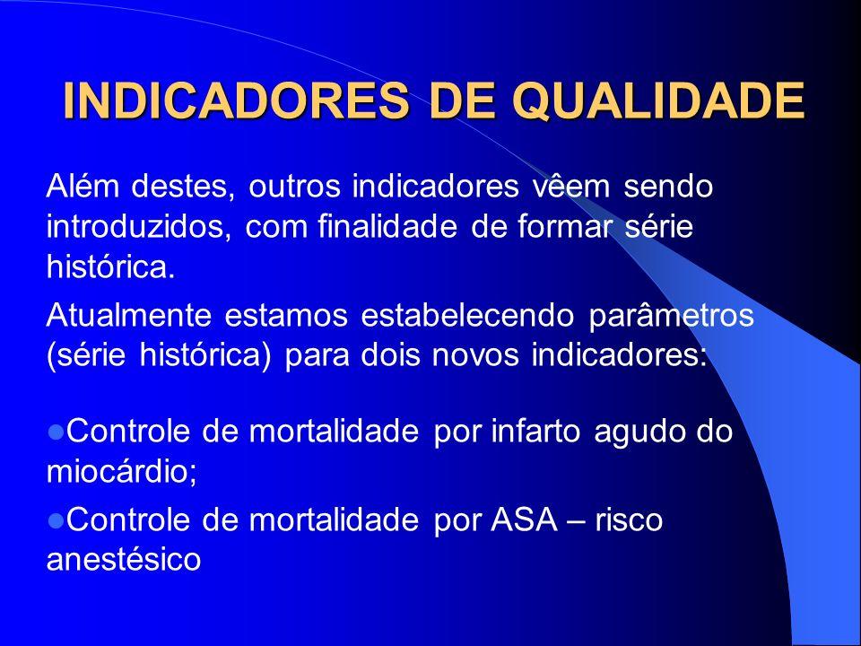 INDICADORES DE QUALIDADE Além destes, outros indicadores vêem sendo introduzidos, com finalidade de formar série histórica. Atualmente estamos estabel