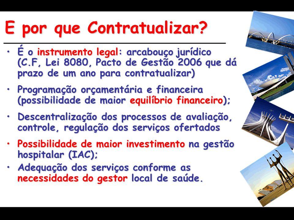 E por que Contratualizar? É o instrumento legal: arcabouçojurídico (C.F, Lei 8080, Pacto de Gestão 2006 que dá prazo de um ano para contratualizar)É o