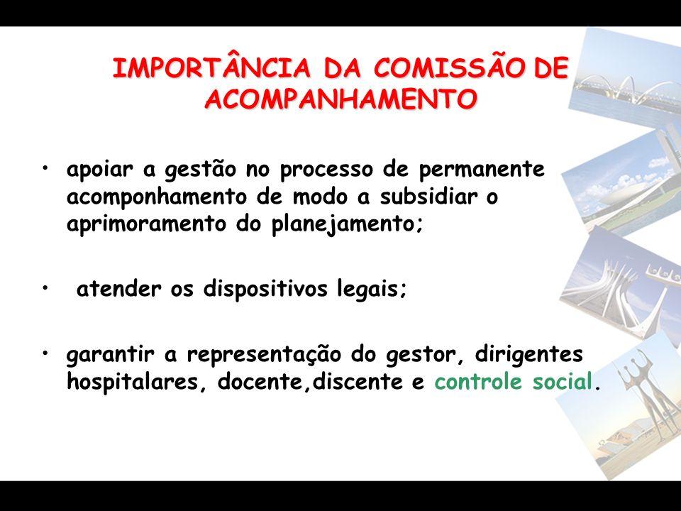 IMPORTÂNCIA DA COMISSÃODE ACOMPANHAMENTO IMPORTÂNCIA DA COMISSÃO DE ACOMPANHAMENTO apoiar a gestão no processo de permanente acomponhamento de modo a