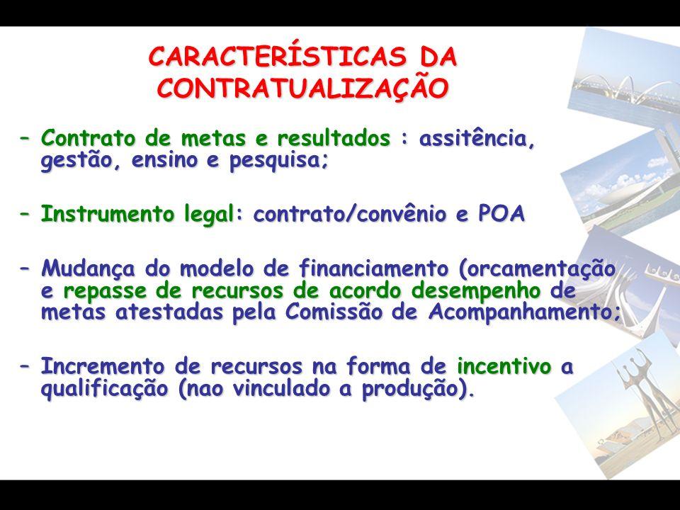 CARACTERÍSTICAS DA CONTRATUALIZAÇÃO –Contrato de metas e resultados : assitência, gestão, ensino e pesquisa; –Instrumento legal: contrato/convênio e P