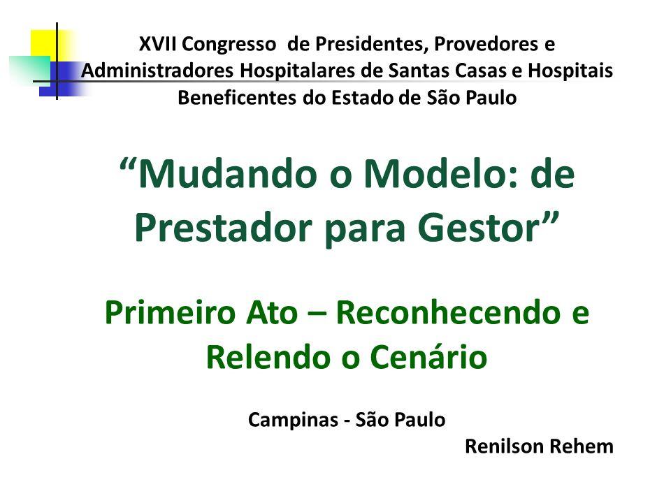 Primeiro Ato – Reconhecendo e Relendo o Cenário No passado, até porque os custos eram muito baixos, o financiamento da assistência hospitalar no Brasil se dava de maneira bastante simplificada, OU