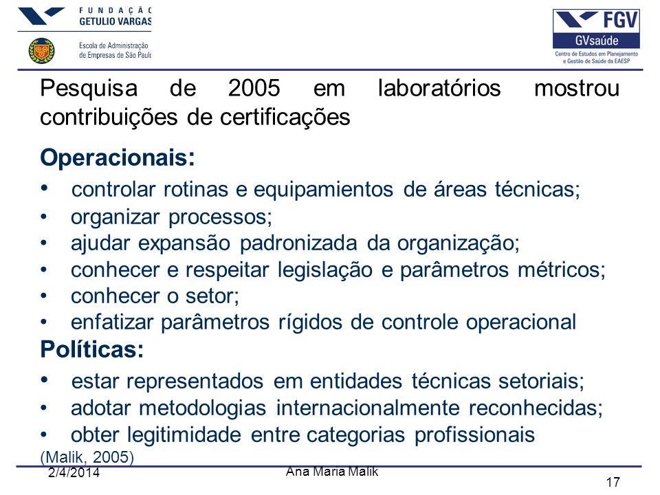 17 Pesquisa de 2005 em laboratórios mostrou contribuições de certificações Operacionais : controlar rotinas e equipamientos de áreas técnicas; organiz