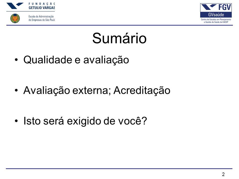 2 Sumário Qualidade e avaliação Avaliação externa; Acreditação Isto será exigido de você?