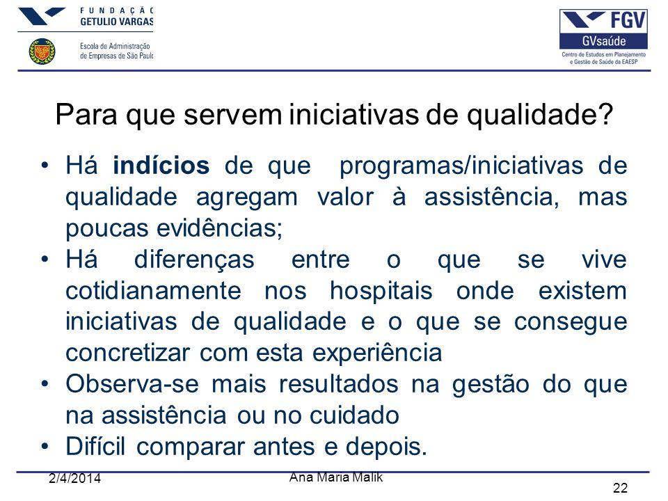 22 Para que servem iniciativas de qualidade? Há indícios de que programas/iniciativas de qualidade agregam valor à assistência, mas poucas evidências;