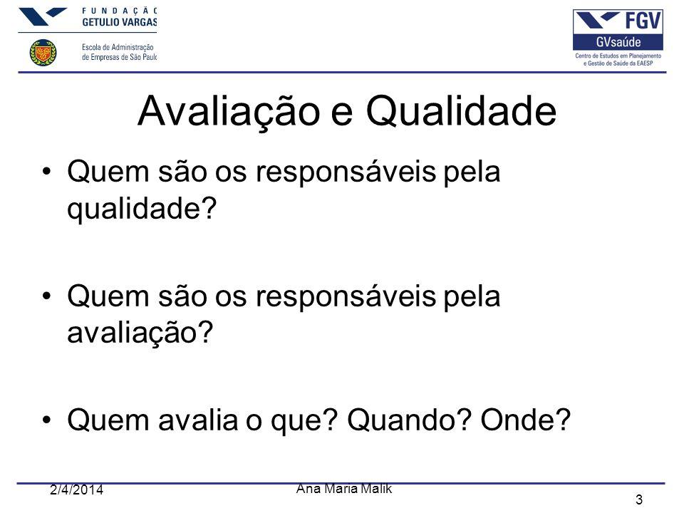 3 2/4/2014 Ana Maria Malik Avaliação e Qualidade Quem são os responsáveis pela qualidade? Quem são os responsáveis pela avaliação? Quem avalia o que?