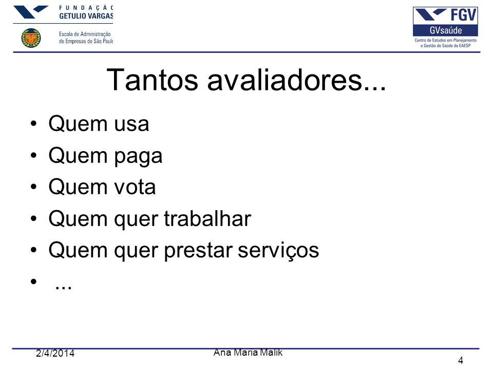 4 2/4/2014 Ana Maria Malik Tantos avaliadores... Quem usa Quem paga Quem vota Quem quer trabalhar Quem quer prestar serviços...