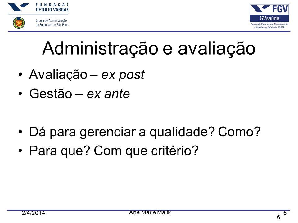 6 2/4/2014 Ana Maria Malik 6 Administração e avaliação Avaliação – ex post Gestão – ex ante Dá para gerenciar a qualidade? Como? Para que? Com que cri
