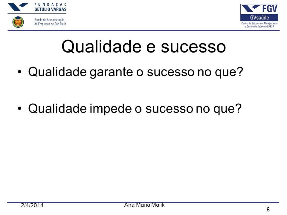 8 2/4/2014 Ana Maria Malik Qualidade e sucesso Qualidade garante o sucesso no que? Qualidade impede o sucesso no que?