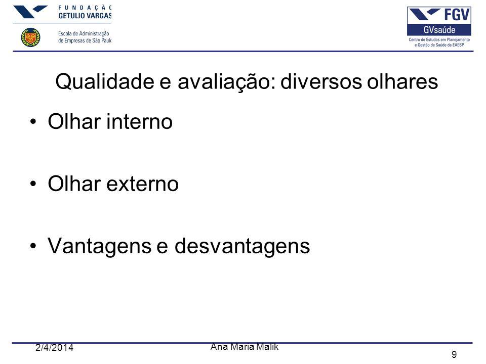 9 2/4/2014 Ana Maria Malik Qualidade e avaliação: diversos olhares Olhar interno Olhar externo Vantagens e desvantagens