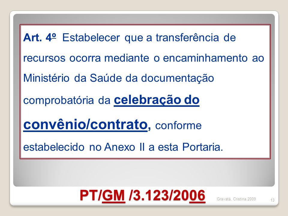 PT/GM /3.123/2006 13 Art. 4º Estabelecer que a transferência de recursos ocorra mediante o encaminhamento ao Ministério da Saúde da documentação compr