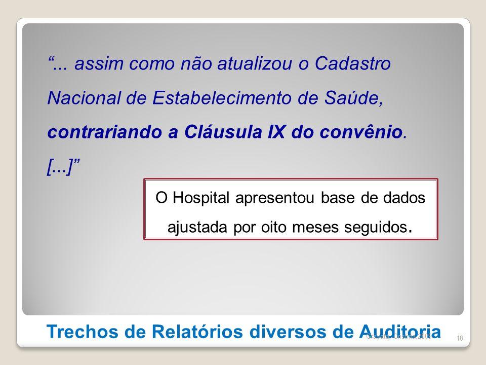 Trechos de Relatórios diversos de Auditoria 18... assim como não atualizou o Cadastro Nacional de Estabelecimento de Saúde, contrariando a Cláusula IX