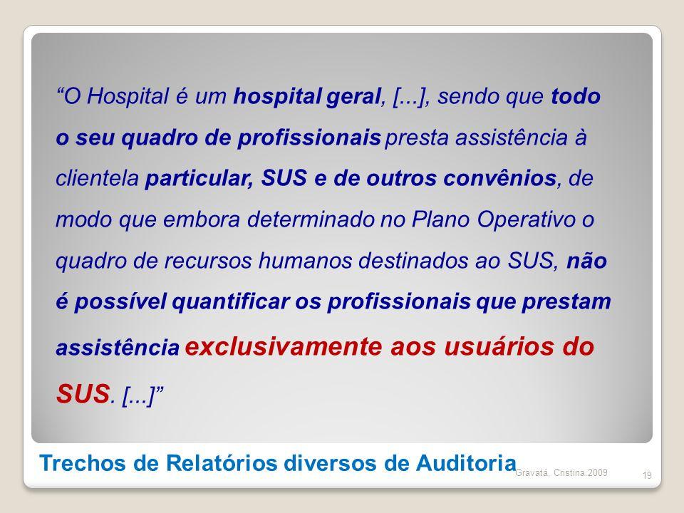 Trechos de Relatórios diversos de Auditoria 19 O Hospital é um hospital geral, [...], sendo que todo o seu quadro de profissionais presta assistência