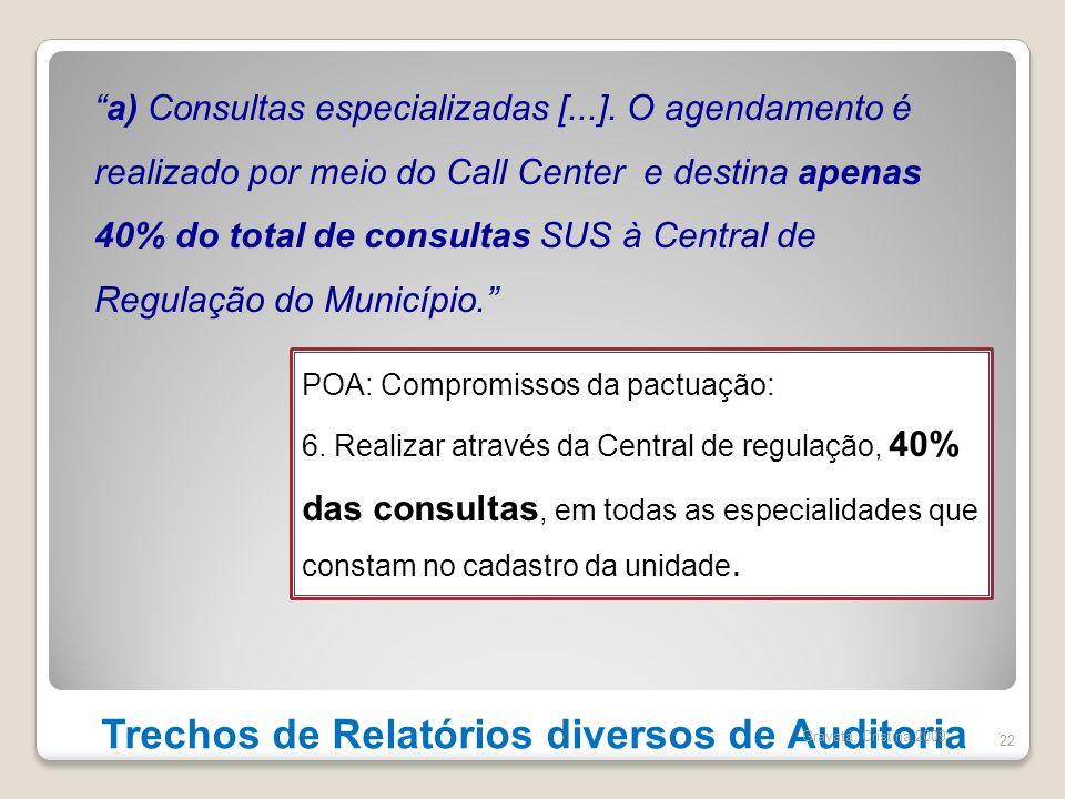 Trechos de Relatórios diversos de Auditoria 22 a) Consultas especializadas [...]. O agendamento é realizado por meio do Call Center e destina apenas 4