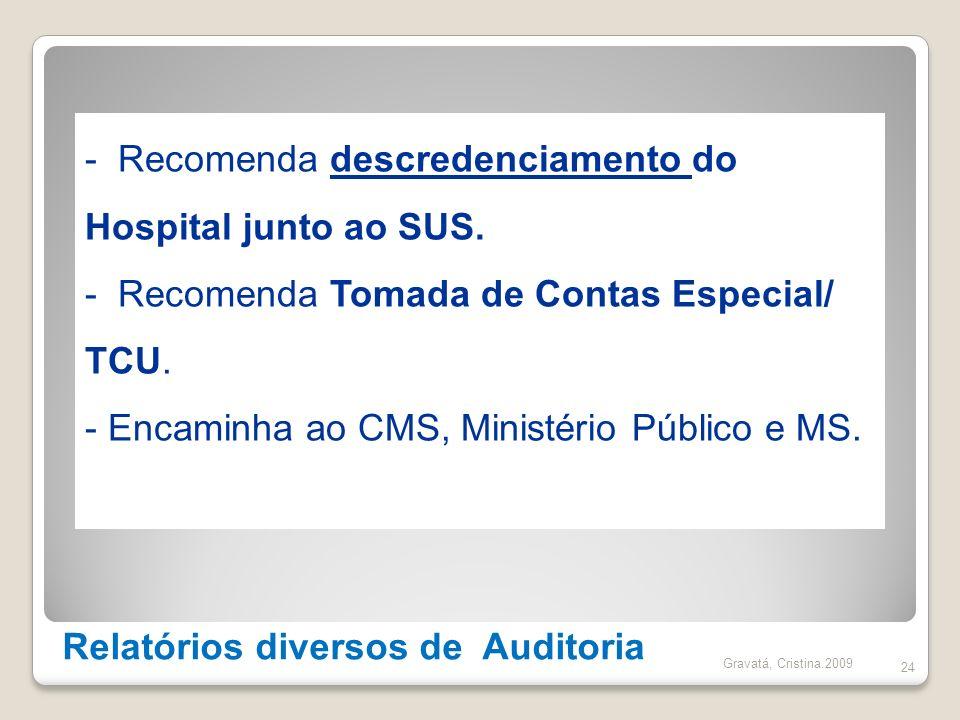 Relatórios diversos de Auditoria 24 - Recomenda descredenciamento do Hospital junto ao SUS. - Recomenda Tomada de Contas Especial/ TCU. - Encaminha ao