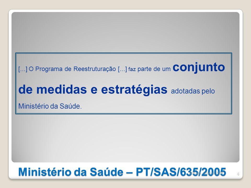 Ministério da Saúde – PT/SAS/635/2005 6 [...] O Programa de Reestruturação [...] faz parte de um conjunto de medidas e estratégias adotadas pelo Minis