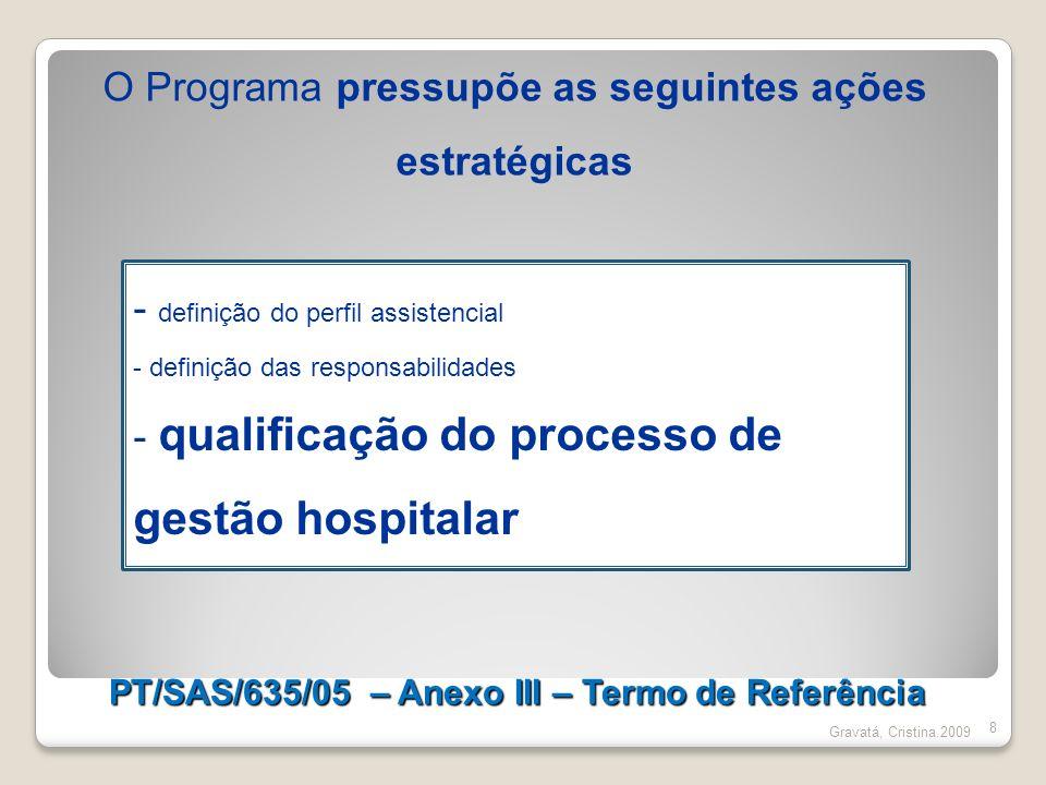 PT/SAS/635/05 – Anexo III – Termo de Referência 8 Gravatá, Cristina.2009 - definição do perfil assistencial - definição das responsabilidades - qualif