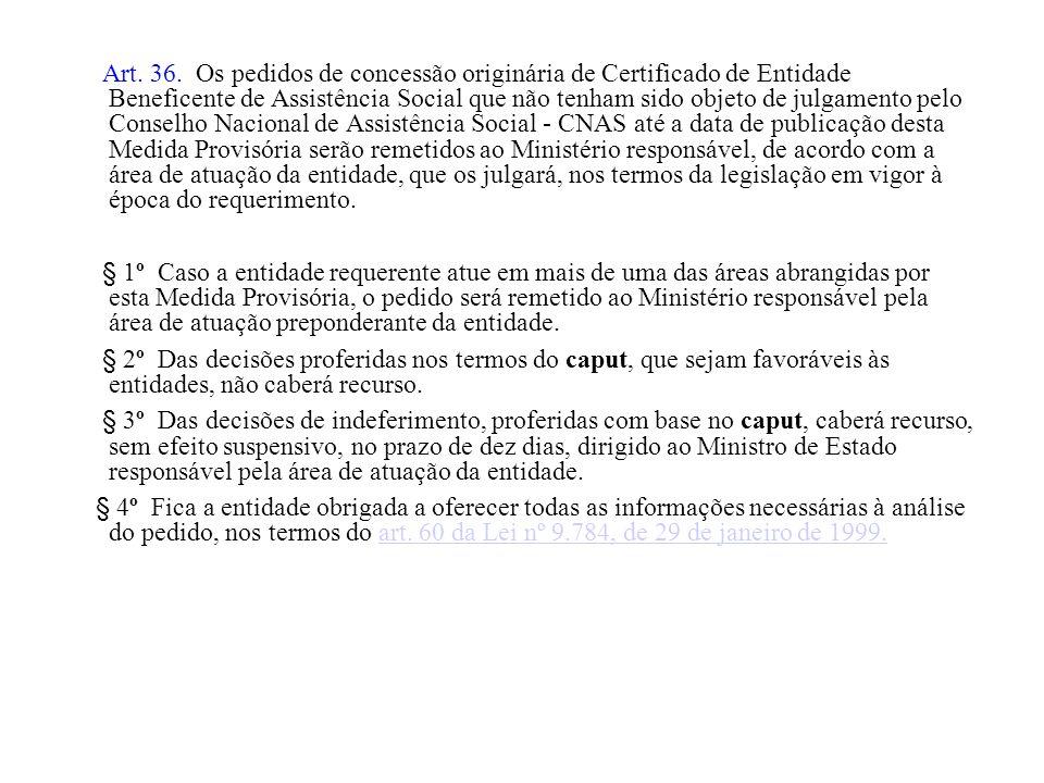 Art. 36. Os pedidos de concessão originária de Certificado de Entidade Beneficente de Assistência Social que não tenham sido objeto de julgamento pelo
