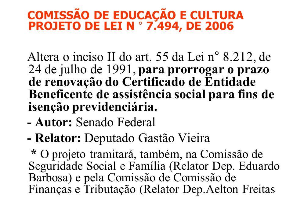 COMISSÃO DE EDUCAÇÃO E CULTURA PROJETO DE LEI N ° 7.494, DE 2006 Altera o inciso II do art. 55 da Lei n° 8.212, de 24 de julho de 1991, para prorrogar