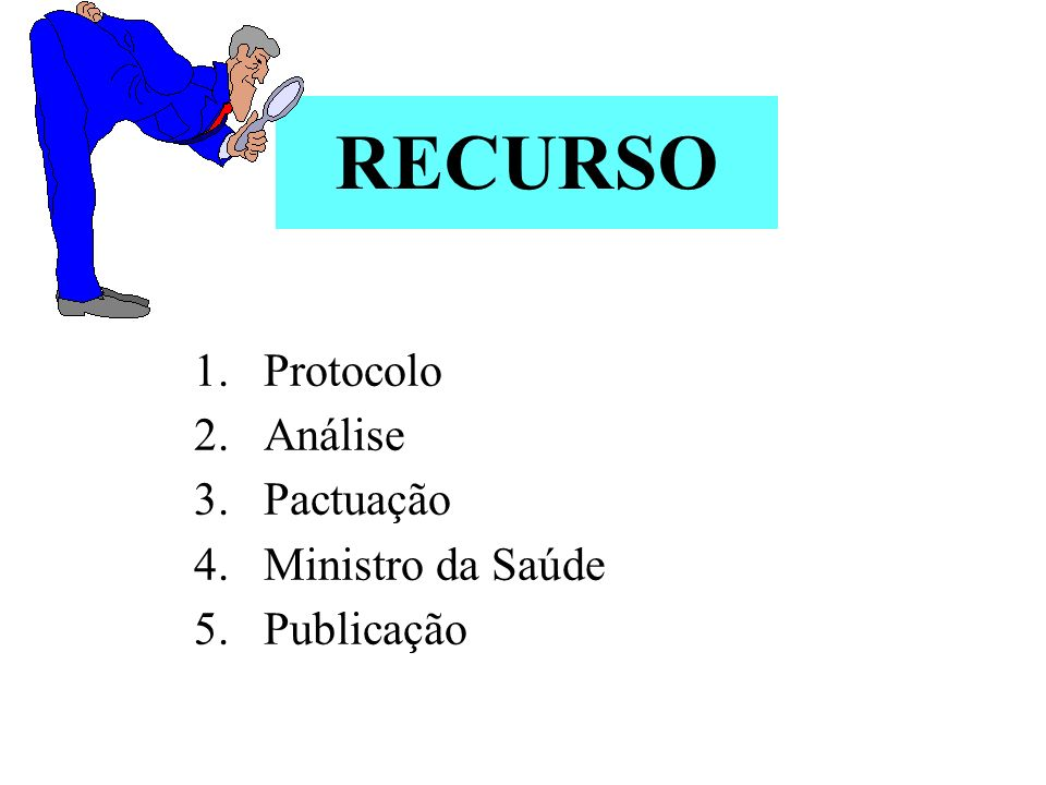 RECURSO 1.Protocolo 2.Análise 3.Pactuação 4.Ministro da Saúde 5.Publicação