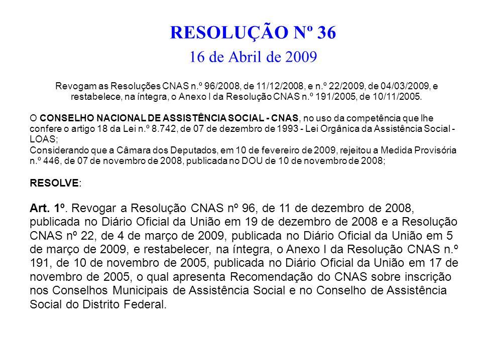 RESOLUÇÃO Nº 36 16 de Abril de 2009 Revogam as Resoluções CNAS n.º 96/2008, de 11/12/2008, e n.º 22/2009, de 04/03/2009, e restabelece, na íntegra, o