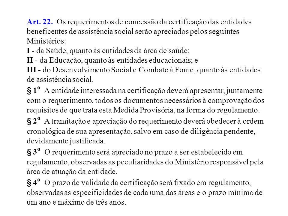 Art. 22. Os requerimentos de concessão da certificação das entidades beneficentes de assistência social serão apreciados pelos seguintes Ministérios: