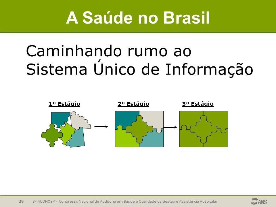 8º AUDHOSP - Congresso Nacional de Auditoria em Saúde e Qualidade da Gestão e Assistência Hospitalar29 Caminhando rumo ao Sistema Único de Informação A Saúde no Brasil 2º Estágio1º Estágio3º Estágio
