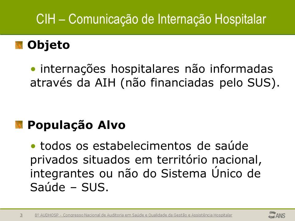 8º AUDHOSP - Congresso Nacional de Auditoria em Saúde e Qualidade da Gestão e Assistência Hospitalar3 CIH – Comunicação de Internação Hospitalar Objeto internações hospitalares não informadas através da AIH (não financiadas pelo SUS).