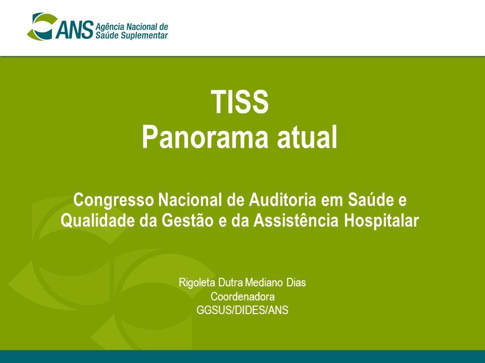 TISS Panorama atual Congresso Nacional de Auditoria em Saúde e Qualidade da Gestão e da Assistência Hospitalar Rigoleta Dutra Mediano Dias Coordenador