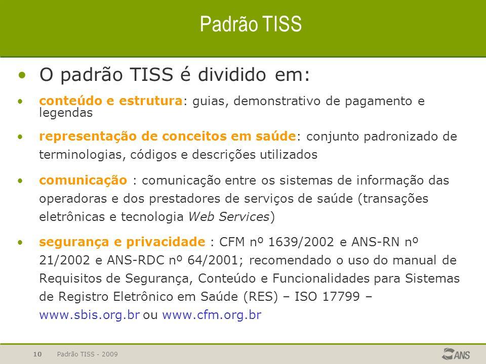Padrão TISS - 2009 10 Padrão TISS O padrão TISS é dividido em: conteúdo e estrutura: guias, demonstrativo de pagamento e legendas representação de con