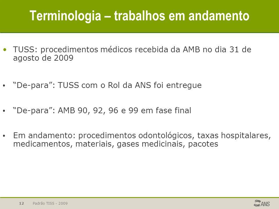 Padrão TISS - 2009 12 Terminologia – trabalhos em andamento TUSS: procedimentos médicos recebida da AMB no dia 31 de agosto de 2009 De-para: TUSS com