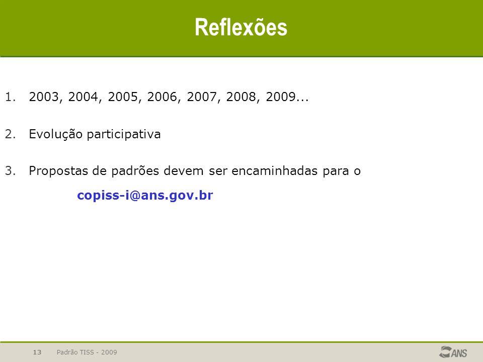 Padrão TISS - 2009 13 Reflexões 1.2003, 2004, 2005, 2006, 2007, 2008, 2009... 2.Evolução participativa 3.Propostas de padrões devem ser encaminhadas p