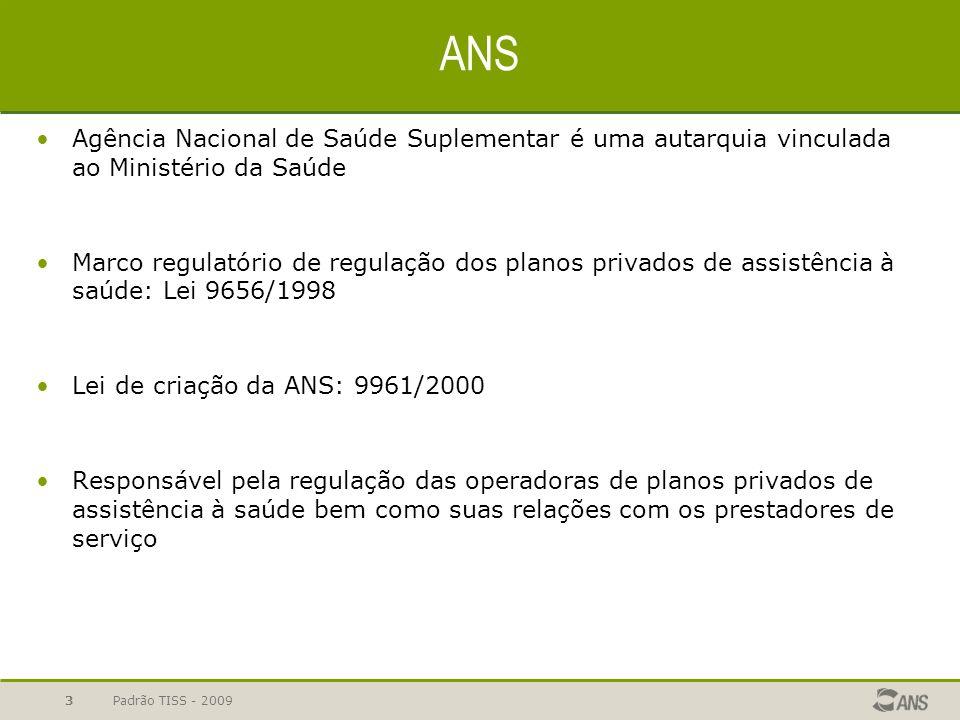 Padrão TISS - 2009 3 ANS Agência Nacional de Saúde Suplementar é uma autarquia vinculada ao Ministério da Saúde Marco regulatório de regulação dos pla
