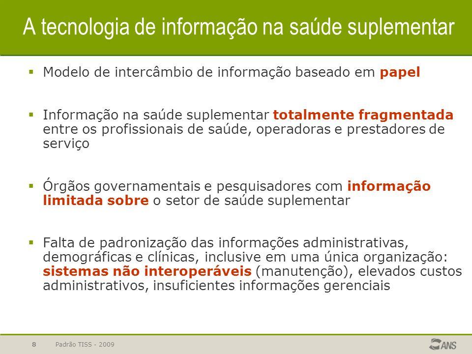 Padrão TISS - 2009 9 Pilares do padrão TISS Integração com as informações do SUS e da ANS Uso de identificadores unívocos: CNS, CNES e Registro de Operadoras Simplificação adminsitrativa